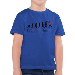Shirtracer T-Shirt Tennis Evolution - Evolution Kind - Jungen Kinder T-Shirt blau 140 (9/11 Jahre)