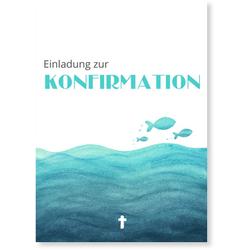 Einladungskarten Konfirmation (10 Karten) selbst gestalten, konfirmation einladung wasser tuerkis - Türkis