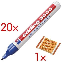 20x Permanent-Marker »3000« inkl. 1x Karamellbonbons »Karamell Riesen« blau, Edding