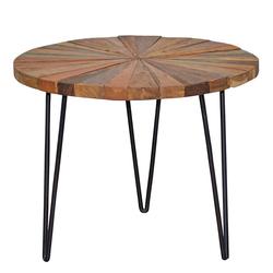 Beitisch aus Treibholz und Metall rund