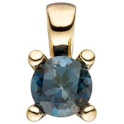 JOBO Kettenanhänger, 585 Gold mit Blautopas