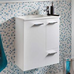Weißer Waschtisch mit Einlass-Waschbecken 25 cm tief