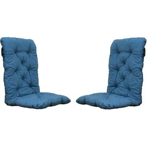 2er Set Auflagen Sitzkissen Sitzpolster Hochlehner, 120x50x8 cm blau/grau