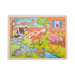 goki Puzzle Holzpuzzle 48 Teile Bauernhof, Puzzleteile