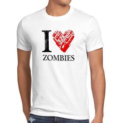 style3 Print-Shirt Herren T-Shirt Love Zombie walking kettensäge dead the halloween horror film axt weiß L