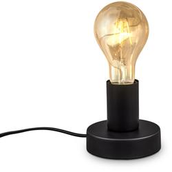B.K.Licht Tischleuchte, Vintage Tischlampe, mit Kabelschalter, Retro Nachttischlamp, Tischlampe, E27, Matt-Schwarz, ohne Leuchtmittel, Ø10cm