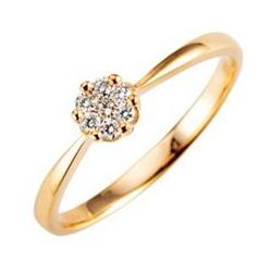 Mirage-Ring 7 Brillanten zus. ca. 0,15ct get.Weiß/lupenrein Gold 375