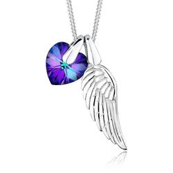 Elli Kette mit Anhänger Flügel Herz Schutz Kristalle 925 Silber, Flügel