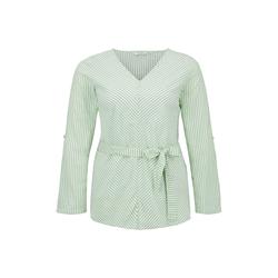 TOM TAILOR MY TRUE ME Damen Gestreifte Bluse mit Gürtel, grün, gestreift, Gr.50