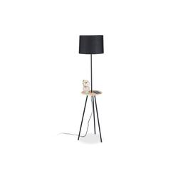 relaxdays Stehlampe Schwarze Stehlampe mit Holztisch