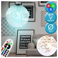 etc-shop LED-Hängeleuchte, Hänge Pendel Lampe Ess Zimmer Glas Kristall Leuchte DIMMBAR im Set inkl. RGB LED Leuchtmittel