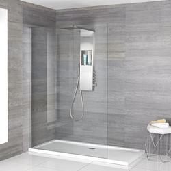 Iko Walk-In Dusche mit Slim Line Duschwanne & glashaltendem Duschpaneel - Wählbare Größe, von Hudson Reed