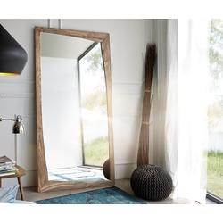 DELIFE Designer-Wandspiegel Wyatt 200x100 cm Sheesham Natur, Spiegel