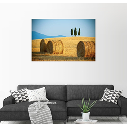 Posterlounge Wandbild, Toskana-Landschaft mit Strohballen 90 cm x 60 cm
