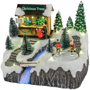 Deko Weihnachtsmarkt Spieluhr Winterdorf LED beleuchtet mit beweglichen Figuren