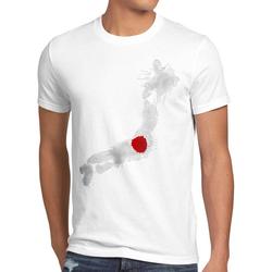 style3 Print-Shirt Herren T-Shirt Flagge Japan Fußball Sport Nihon WM EM Fahne weiß L