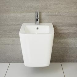 Wand Bidet Modern Eckig Keramik Weiß mit Überlauf - Sandford, von Hudson Reed