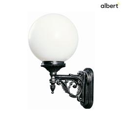 Albert Außenwandleuchte Typ Nr. 0609 mit Kugelschirm Ø 25cm, IP44, E27 QA55 max. 57W, Alu-Guss / Opalglas, Schwarz-Silber / Opalglas ALB-600609