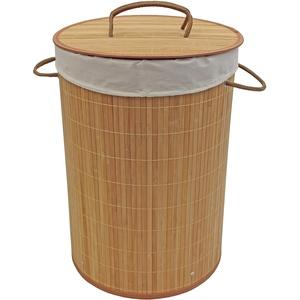 JVL Wäschekorb aus Bambusholz, rund, zusammenklappbar, Grau, 35 x 50 cm, Bambus, braun, 35 x 35 x 50 cm