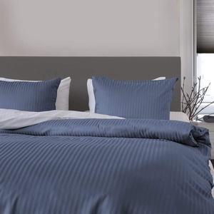 Heckett Lane Bettwäsche 100% Baumwolle Mako-Satin Uni Stripe 155x220 (80x80) Steel Blue