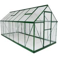 Palram Hybrid Alu grün Polycarbonat 0,7 mm/Dach HKP 4 mm 7,9 m2 inkl. Stahlfundament