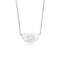 Elli Kette mit Anhänger Lotusblüte Talisman Symbol 925 Silber, Lotusblume silberfarben