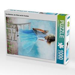 Das Mädchen, der Wind und ihr Drachen Lege-Größe 48 x 64 cm Foto-Puzzle Bild von Harald Fischer Puzzle