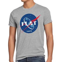 style3 Print-Shirt Herren T-Shirt Flat Earth fernrohr weltraum astronomie grau XL
