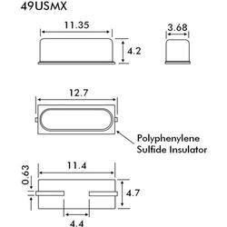 EuroQuartz Quarzkristall QUARZ HC49/SMD SMD-2 16.384MHz 18pF 11.35mm 4.7mm 4.2mm