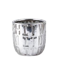 KJ Collection Blumentopf Keramik Silber 10cm