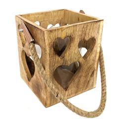 Holzwindlicht 15x15x22cm Herzdekor Kerzenhalter mit Glaseinsatz
