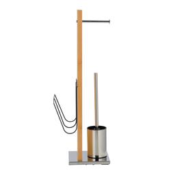 WENKO Stand WC-Garnitur und Zeitungshalter Portofino Bambus, integrierter Toilettenpapierhalter und