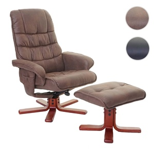 Relaxsessel HWC-E30, Fernsehsessel Liegesessel TV-Sessel mit Hocker ~ Wildlederimitat braun