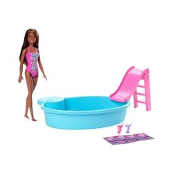 Mattel® Puppenkleidung Barbie Pool und Puppe, brünett