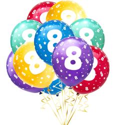 Luftballon Set Zahl 8 für 8. Geburtstag Kindergeburtstag Party 10 Deko Ballons Geburtstagsdeko bunt