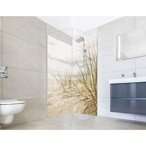 NORILIVING Eck Duschrückwand (2-teilig) - Fugenlose Badezimmer Wandverkleidung aus Alu-Verbundplatten mit kostenlosem Zuschnitt auf Ihr Wunschformat (Motiv: Dünen Gras Strand, 90x200cm)