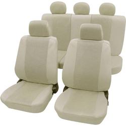 Petex 26174809 Sydney Sitzbezug 11teilig Polyester Beige Fahrersitz, Beifahrersitz, Rücksitz