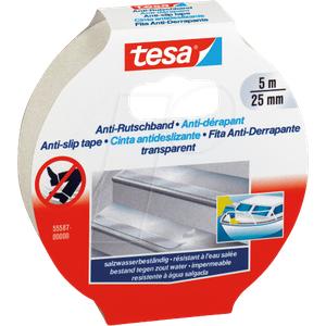 TESA 55587 TR - Anti Rutschband, 5 m x 25 mm, transparent
