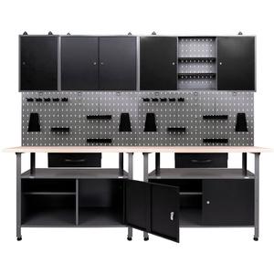 ONDIS24 Werkstatt-Set, (Set), 2x Werkbank, 2x Werkstattschrank, 2x Lochwand schwarz