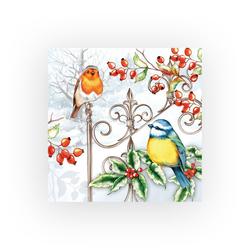 Ambiente Papierserviette Vögel im Winter, (5 St), 33 cm x 33 cm