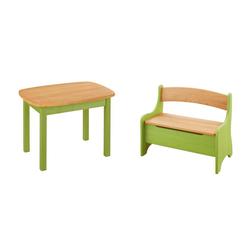 BioKinder - Das gesunde Kinderzimmer Kindersitzgruppe Levin, mit Tisch und Sitzbank, Sitzhöhe 30 cm grün
