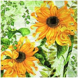 Linoows Papierserviette 20 Servietten, Gelbe Sonnenblumen und grünes Weinl, Motiv Gelbe Sonnenblumen und grünes Weinlaub