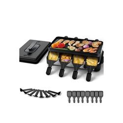 muchen Raclette Raclette Grill 8 Personen mit Deckel Antihaft-Grillplatte Doppelseitiger,mit 8 Spatel 8 Pfännchen,Elektrogrill Tischgrill Elektrisch raklettgerät, 8 Raclettepfännchen, 1200 W, Einstellbare Temperatur