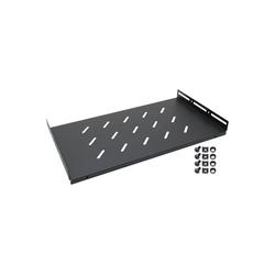 HMF Fachboden 66499 für 19 Zoll Serverschrank Netzwerk-Switch (Regalboden für Netzwerkschrank ab 45 cm Tiefe, Schwarz) schwarz 48.5 cm x 4.5 cm x 27.00 cm