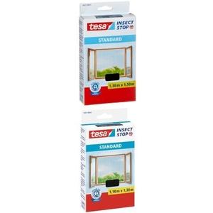 tesa Fliegengitter für Fenster, Standard Qualität, anthrazit, durchsichtig, 1,3m x 1,5m + tesa Fliegengitter für Fenster, Standard Qualität, anthrazit, durchsichtig, 1,1m x 1,3m