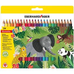 Eberhard Faber Buntstift Colori Dicke Buntstifte, ergonomisch dreiflächig, (24-tlg), 24 Stifte