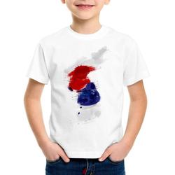 style3 Print-Shirt Kinder T-Shirt Flagge Korea Fußball Sport Hangug WM EM Fahne weiß 140