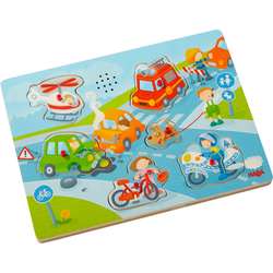 Haba Steckpuzzle In der Stadt, (6 tlg.), mit Sound-Effekten bunt Kinder Puzzle Gesellschaftsspiele
