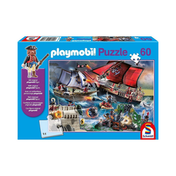 Schmidt Spiele Puzzle Puzzle PLAYMOBIL® inkl. Playmobil-Figur, Piraten,, Puzzleteile