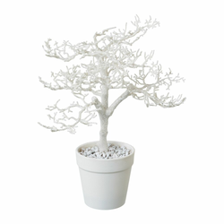 Kunstpflanze Hainbuche, Farbe weiß, inkl. Topf, Höhe ca. 28 cm